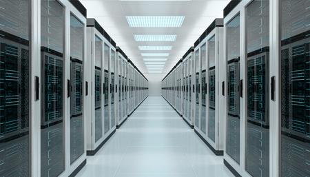 明るいサーバー ルームのデータ センターのストレージ インテリア 3 D レンダリング