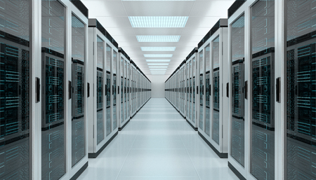 Bright server room data center storage interior 3D rendering 版權商用圖片