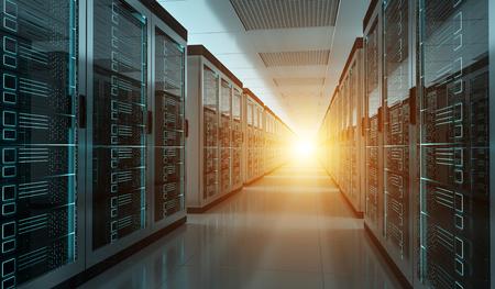 다크 서버 룸 데이터 센터 스토리지 내부 3D 렌더링 스톡 콘텐츠
