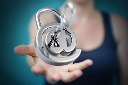 Businesswoman on blurred background hacking security system 3D rendering
