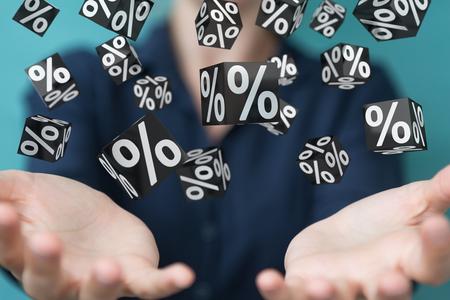 Businesswoman on blurred background enjoying black Friday sales 3D rendering Stock Photo