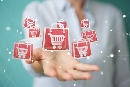 Geschäftsfrau auf unscharfem Hintergrund unter Verwendung der digitalen Einkaufsikonen 3D Wiedergabe Standard-Bild