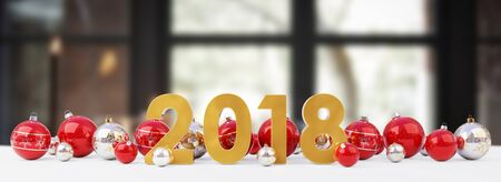 midnight: 2018 new year eve with red and white christmas baubles on snow background 3D rendering Stock Photo
