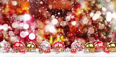 赤雪山背景 3 D レンダリングに並んで赤と白のクリスマスつまらない