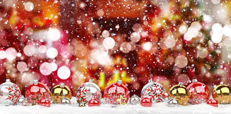Red and white christmas baubles lined up on red snowy background 3D rendering
