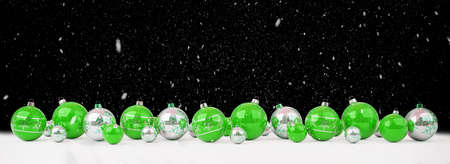 Green and white christmas baubles lined up on snow background 3D rendering Stock Photo