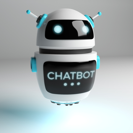 Futuristic digital chatbot on grey background 3D rendering 스톡 콘텐츠