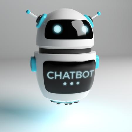 Futuristic digital chatbot on grey background 3D rendering Stockfoto