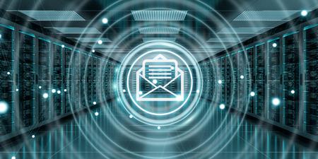 Digital white emails exchange over server room data center interior 3D rendering Reklamní fotografie - 89913338