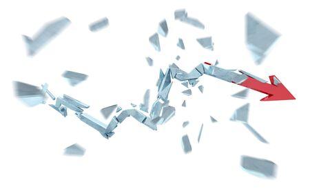 Broken crisis arrow on white background 3D rendering Stock Photo