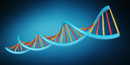 Modern DNA structure on blue background 3D rendering Stock Photo
