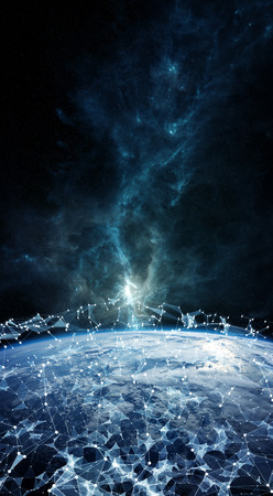 Global network and datas exchanges over the planet Earth 3D rendering elements of this image furnished by NASA Stock Photo