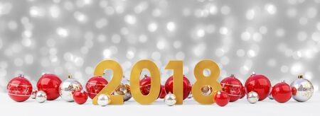 2018 new year eve with red and white christmas baubles on snow background 3D rendering Stock Photo