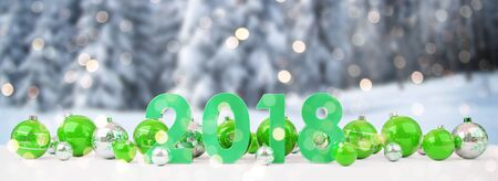 2018 new year eve with green and white christmas baubles on snow background 3D rendering