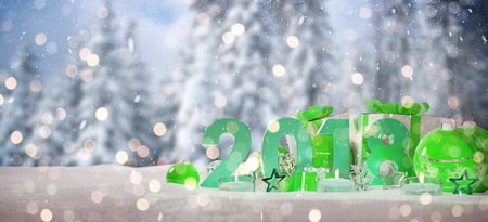 2018 new year eve with green and white christmas baubles and gifts 3D rendering Stock Photo
