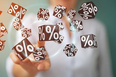 Businesswoman on blurred background enjoying black Friday sales 3D rendering Standard-Bild