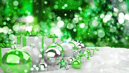 Green and white christmas gifts and baubles lined up on snowy background 3D rendering Stock Photo