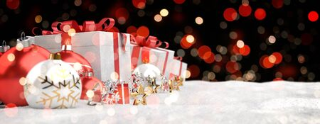 Red and white christmas gifts and baubles lined up on black bokeh background 3D rendering