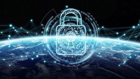 Cyberbeveiliging en verbindingen over de hele wereld 3D-rendering Stockfoto