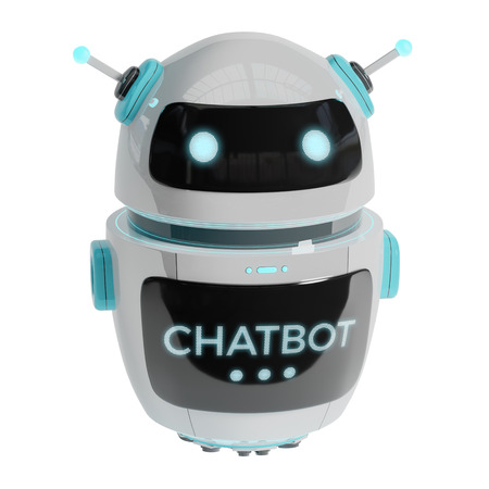 Futuristic digital chatbot isolated on white background 3D rendering Stock Photo