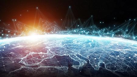 Verbindingssysteem en wereldwijde gegevensuitwisseling over de hele wereld 3D-weergave Stockfoto - 90516153