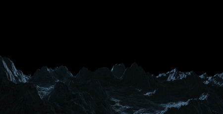 Dark asteroids close up with black background 3D rendering