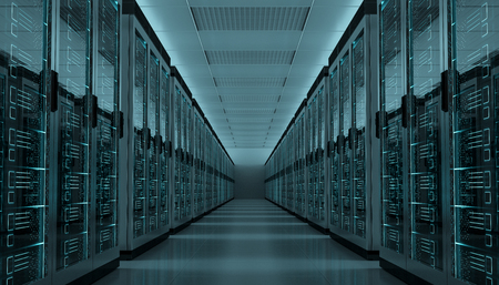 Ciemny serwerowni pokoju centrum danych magazynu wnętrza 3D rendering
