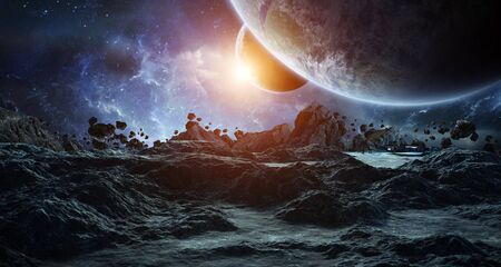 Astronauts with spaceship exploring an asteroid in space 3D rendering