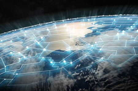Verbindingssysteem en wereldwijde gegevensuitwisseling over de hele wereld 3D-weergave Stockfoto - 90516379