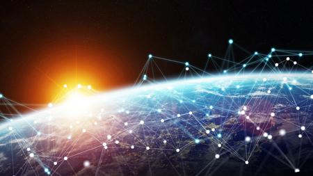 Sistema de conexiones e intercambios de datos globales en el mundo Representación 3D Foto de archivo - 90516488