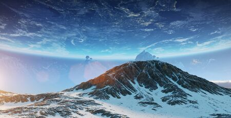Exoplanets in space view from a mountain 3D rendering Stock Photo