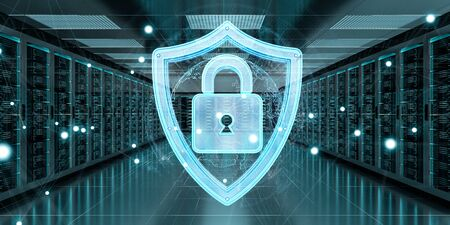 White and blue firewall activated on server room data center 3D rendering Stock Photo