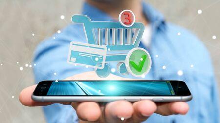 Hombre de negocios en el fondo borroso usando la representación digital de los iconos 3D de las compras