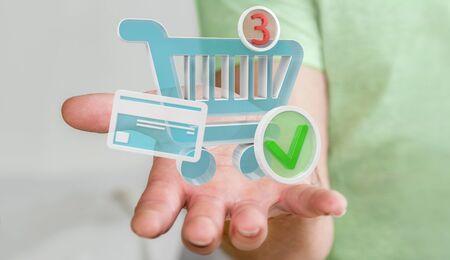 Zakenman op vage achtergrond die het digitale winkelen pictogrammen 3D teruggeven gebruiken