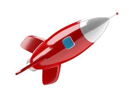 Modern digital rocket isolated on white background 3D rendering