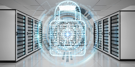 White and blue firewall activated on server room data center 3D rendering Banque d'images