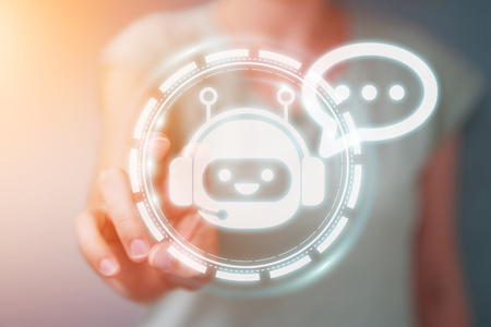 chatbot 응용 프로그램의 3D 렌더링으로 채팅 배경 흐리게에 사업가 스톡 콘텐츠