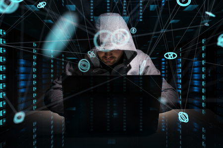Hacker accessing to personal data information with a computer in a dark room 3D rendering