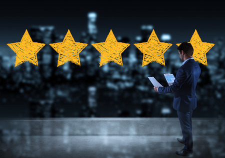 Businessman watching raking stars sketch on a rooftop with a city view 3D rendering