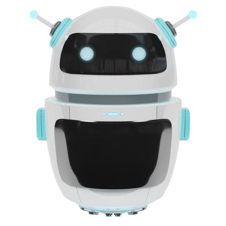 Chatbot digital futurista aislado en la representación blanca del fondo 3D Foto de archivo - 90938606