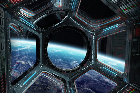 Window view of planet earth from a space station in space 3D rendering elements Stock Photo