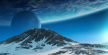 Exoplanets in space view from a mountain 3D rendering elements