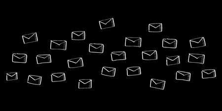 Hand drawn email flying on black background Stock Photo