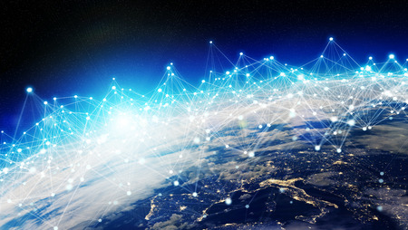 Connections system and global datas exchanges over the globe 3D