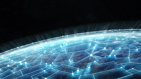 Verbindingssysteem en globale gegevensuitwisseling over de hele wereld 3D Stockfoto - 91298307