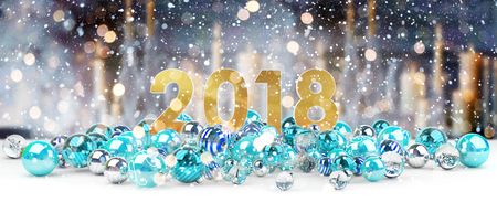 2018 new year eve with blue and white christmas baubles 3D rendering Stock Photo
