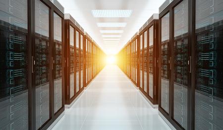 Bright server room data center storage interior 3D rendering 스톡 콘텐츠