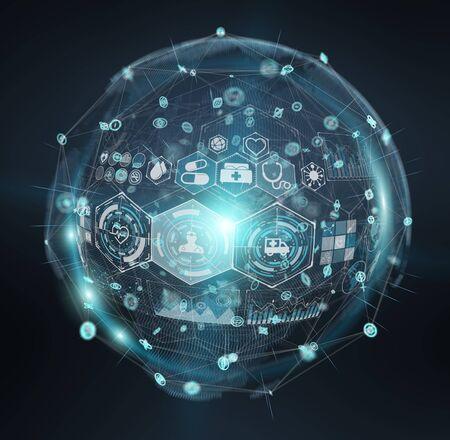 Digital medical sphere interface on blue background 3D rendering