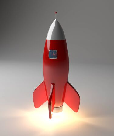 Modern digital rocket launching on grey background 3D rendering Stock Photo