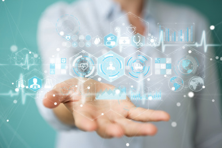 Businesswoman on blurred background using digital medical interface 3D rendering Stock Photo
